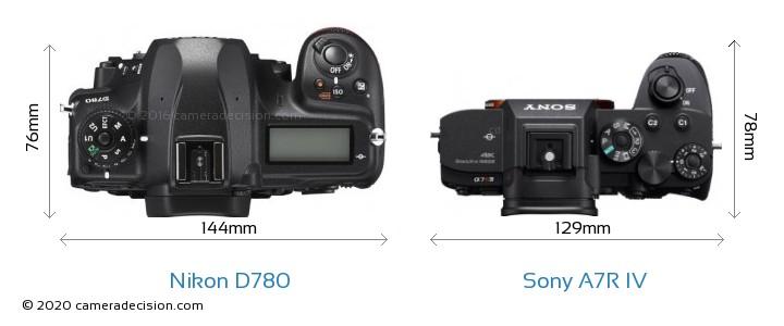 Nikon D780 vs Sony A7R IV Camera Size Comparison - Top View