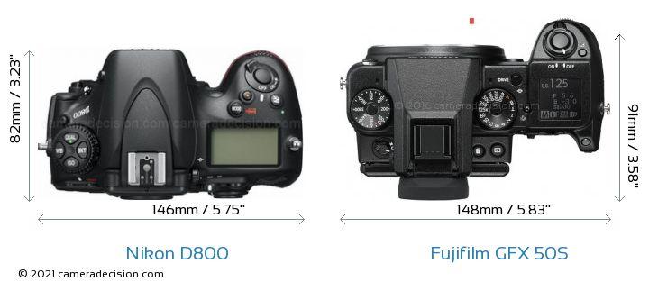 Nikon D800 vs Fujifilm GFX 50S Camera Size Comparison - Top View