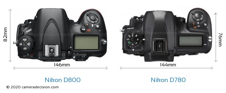 Nikon D800 vs Nikon D780 Camera Size Comparison - Top View