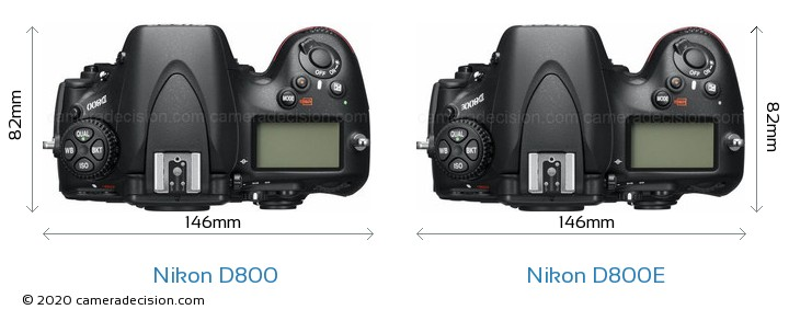 Nikon D800 vs Nikon D800E Camera Size Comparison - Top View