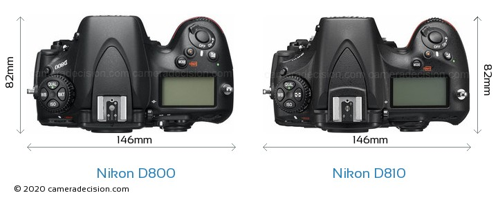 Nikon D800 vs Nikon D810 Camera Size Comparison - Top View