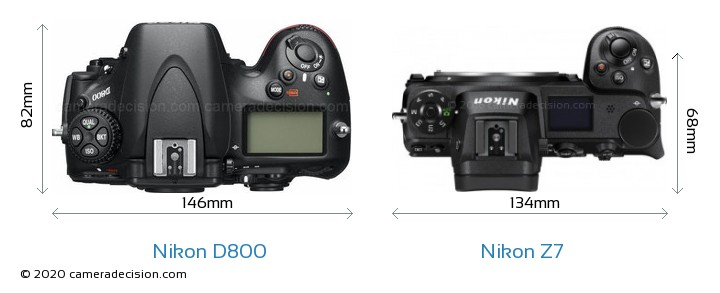 Nikon D800 vs Nikon Z 7 Camera Size Comparison - Top View