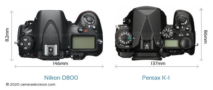 Nikon D800 vs Pentax K-1 Camera Size Comparison - Top View