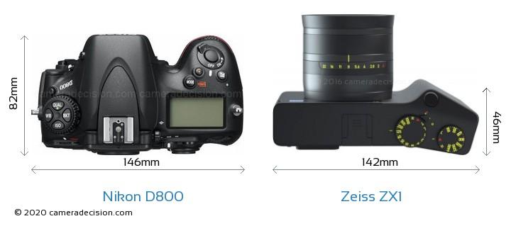 Nikon D800 vs Zeiss ZX1 Camera Size Comparison - Top View