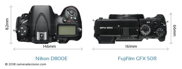 Nikon D800E vs Fujifilm GFX 50R Camera Size Comparison - Top View