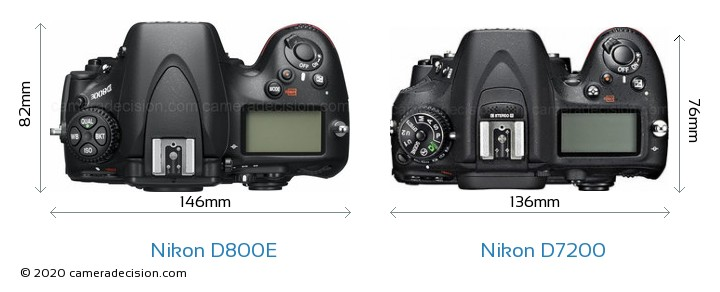 Nikon D800E vs Nikon D7200 Camera Size Comparison - Top View