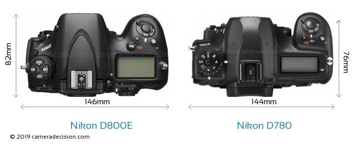 Nikon D800E vs Nikon D780 Camera Size Comparison - Top View