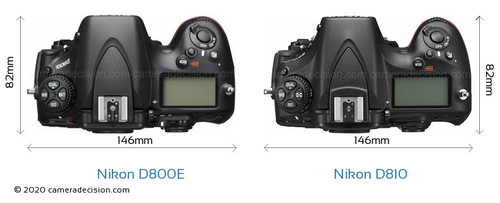 Nikon D800E vs Nikon D810 Camera Size Comparison - Top View