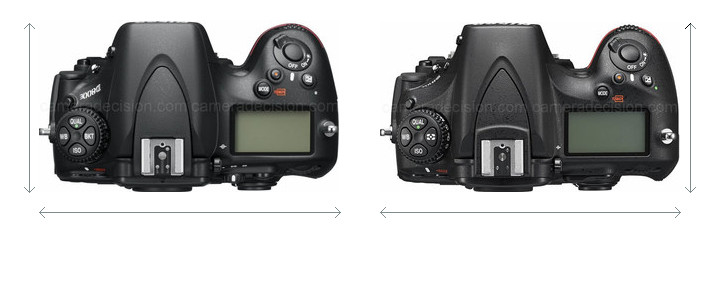 Nikon D800E vs Nikon D810A Camera Size Comparison - Top View