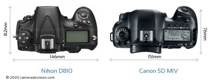 Nikon D810 vs Canon 5D MIV Camera Size Comparison - Top View