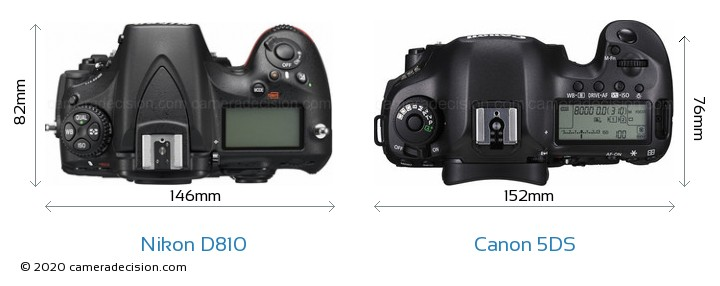 Nikon D810 vs Canon 5DS Camera Size Comparison - Top View