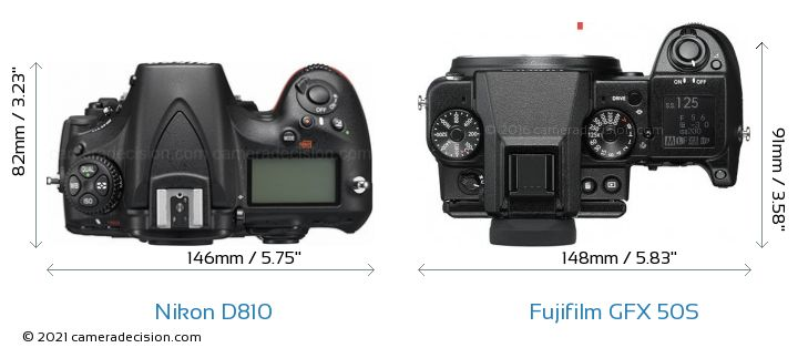 Nikon D810 vs Fujifilm GFX 50S Camera Size Comparison - Top View