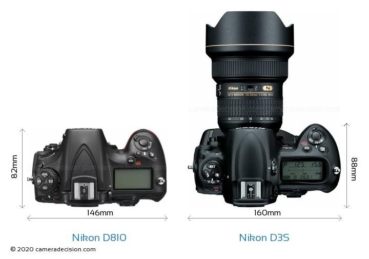 Nikon D810 vs Nikon D3S Camera Size Comparison - Top View