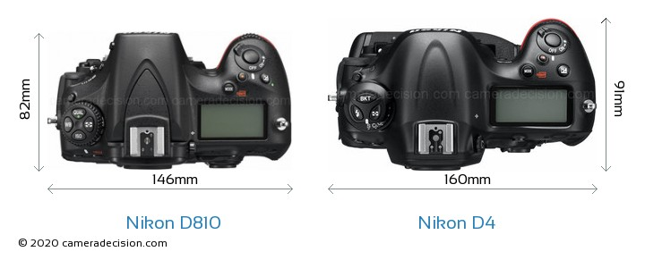Nikon D810 vs Nikon D4 Camera Size Comparison - Top View