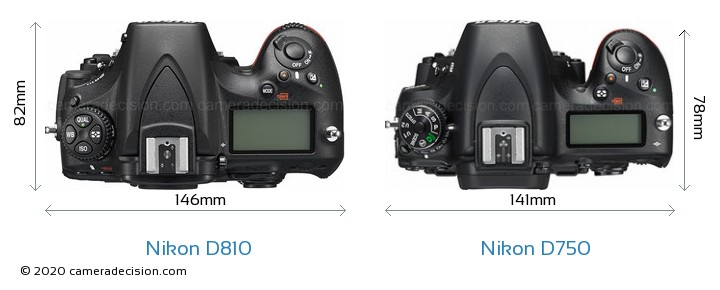 Nikon D810 vs Nikon D750 Camera Size Comparison - Top View