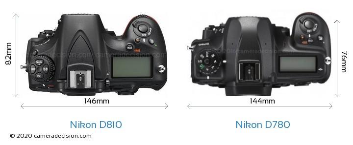 Nikon D810 vs Nikon D780 Camera Size Comparison - Top View