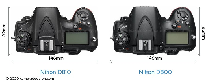 Nikon D810 vs Nikon D800 Camera Size Comparison - Top View