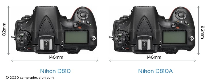 Nikon D810 vs Nikon D810A Camera Size Comparison - Top View