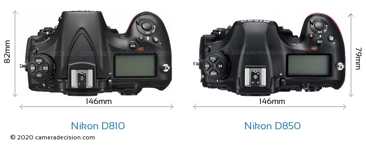 Nikon D810 vs Nikon D850 Camera Size Comparison - Top View