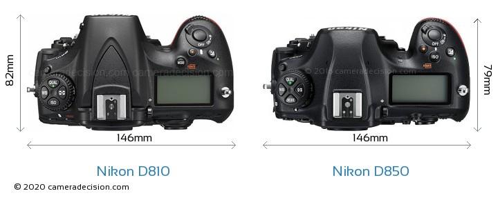 Nikon D810 vs Nikon D850 Camera Size Comparison - Top View