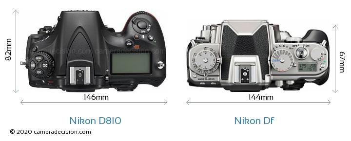 Nikon D810 vs Nikon Df Camera Size Comparison - Top View