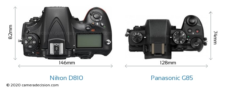 Nikon D810 vs Panasonic G85 Camera Size Comparison - Top View