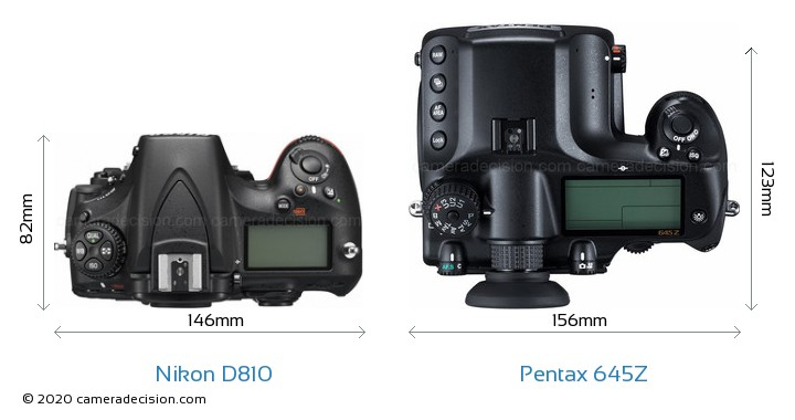 Nikon D810 vs Pentax 645Z Camera Size Comparison - Top View