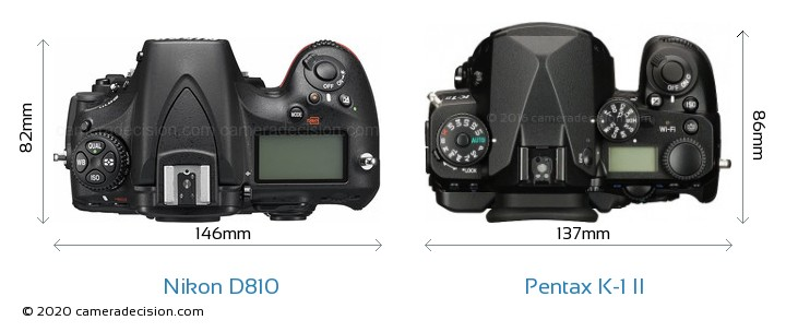 Nikon D810 vs Pentax K-1 II Camera Size Comparison - Top View