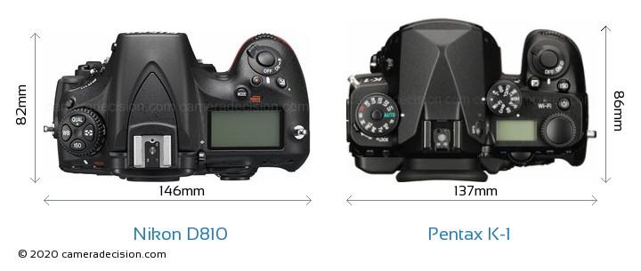 Nikon D810 vs Pentax K-1 Camera Size Comparison - Top View
