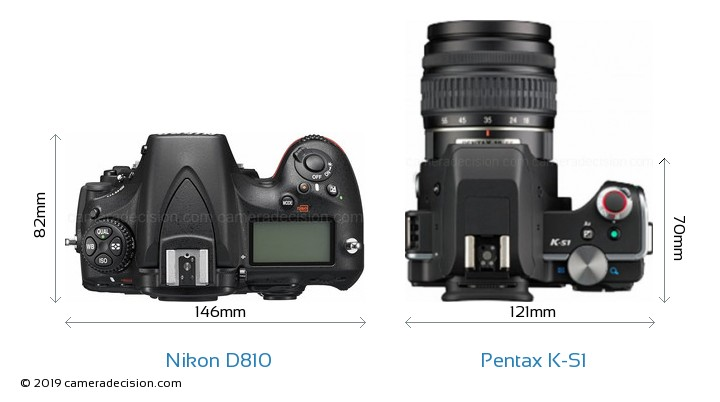 Nikon D810 vs Pentax K-S1 Camera Size Comparison - Top View