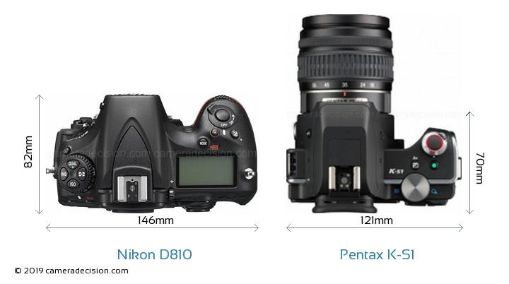 Nikon D810 vs Pentax K-S1 Camera Size Comparison - Top View