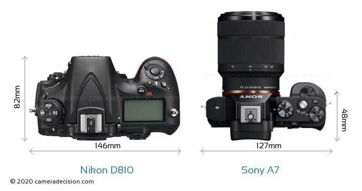 Nikon D810 vs Sony A7 Camera Size Comparison - Top View