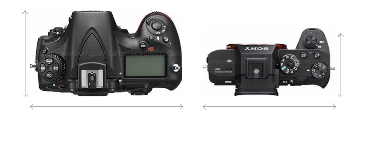 Nikon D810 vs Sony A7R II Camera Size Comparison - Top View