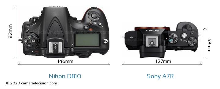 Nikon D810 vs Sony A7R Camera Size Comparison - Top View
