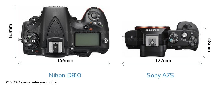 Nikon D810 vs Sony A7S Camera Size Comparison - Top View
