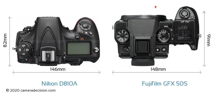 Nikon D810A vs Fujifilm GFX 50S Camera Size Comparison - Top View