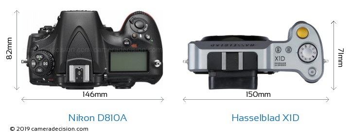 Nikon D810A vs Hasselblad X1D Camera Size Comparison - Top View