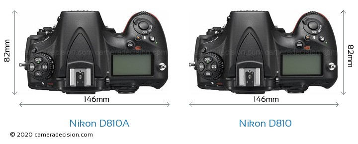 Nikon D810A vs Nikon D810 Camera Size Comparison - Top View