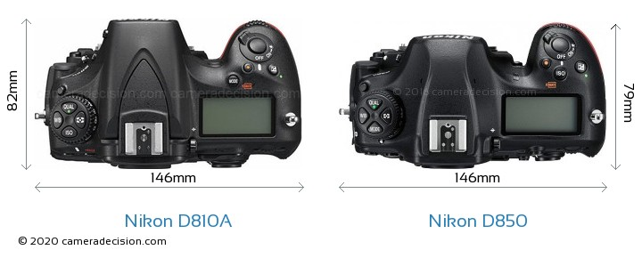 Nikon D810A vs Nikon D850 Camera Size Comparison - Top View