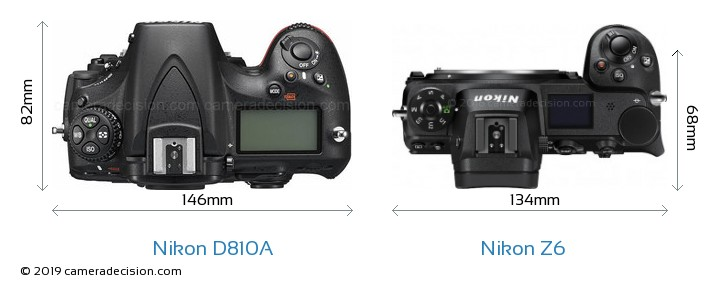 Nikon D810A vs Nikon Z6 Camera Size Comparison - Top View