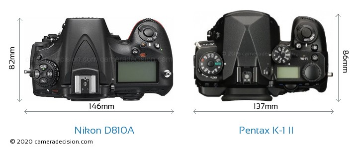 Nikon D810A vs Pentax K-1 II Camera Size Comparison - Top View