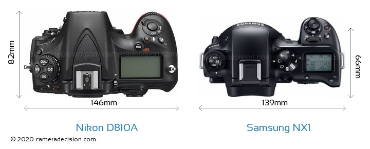 Nikon D810A vs Samsung NX1 Camera Size Comparison - Top View