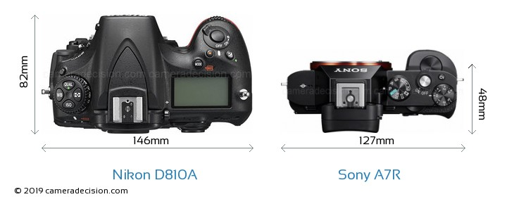 Nikon D810A vs Sony A7R Camera Size Comparison - Top View