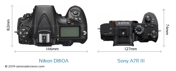 Nikon D810A vs Sony A7R III Camera Size Comparison - Top View