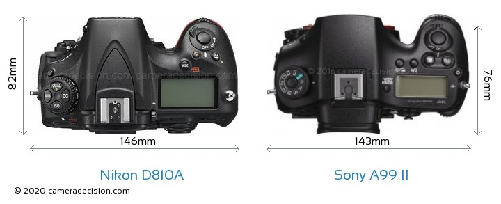 Nikon D810A vs Sony A99 II Camera Size Comparison - Top View