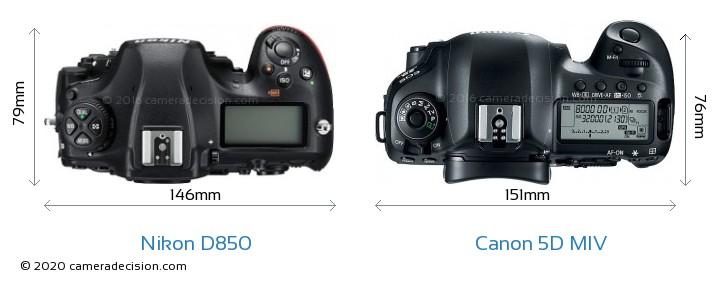 Nikon D850 vs Canon 5D MIV Camera Size Comparison - Top View