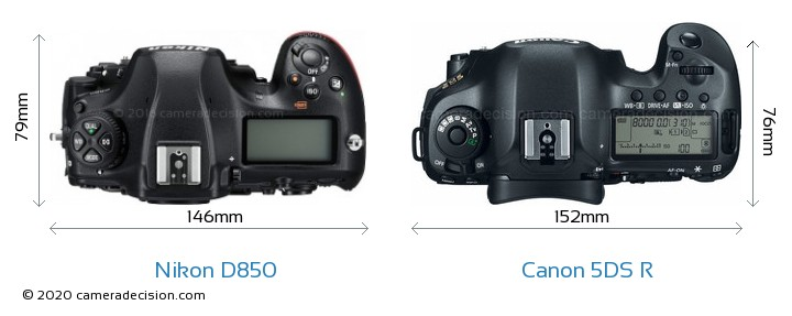 Nikon D850 vs Canon 5DS R Camera Size Comparison - Top View