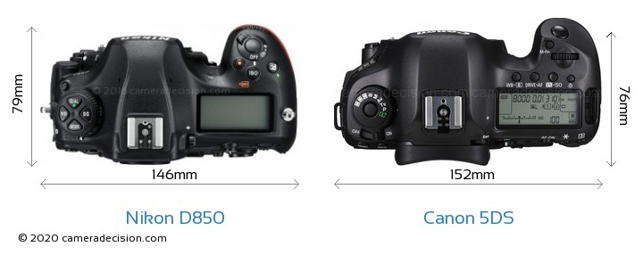 Nikon D850 vs Canon 5DS Camera Size Comparison - Top View