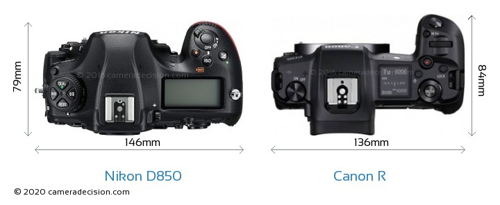 Nikon D850 vs Canon R Camera Size Comparison - Top View