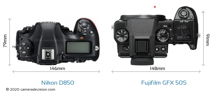 Nikon D850 vs Fujifilm GFX 50S Camera Size Comparison - Top View